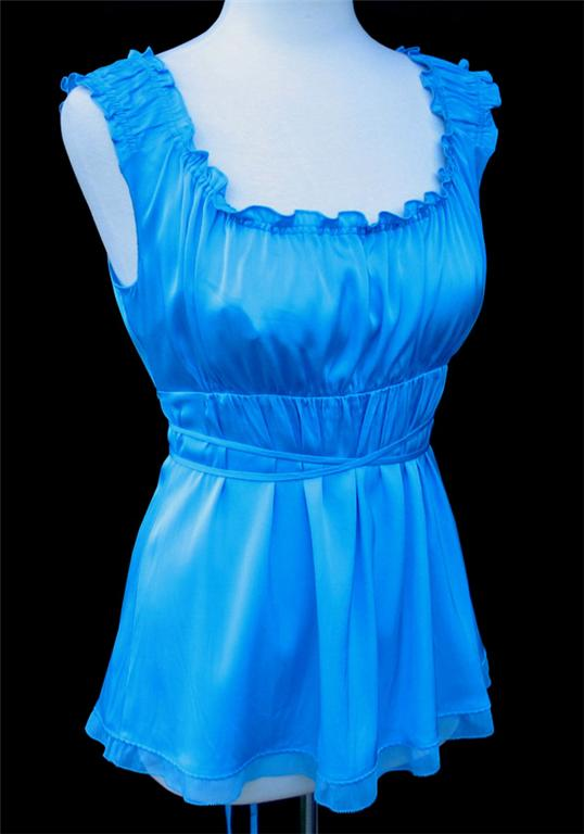 ELIE TAHARI Aqua Turquoise Blue JOLIE Blouse Top Tank NWT LARGE 19800 EBay