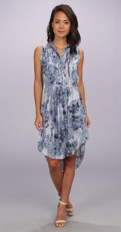REBECCA TAYLOR Blue Print Pintuck Sleeveless SILK Shirtdress Belted Dress 495 EBay