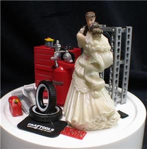 Car AUTO MECHANIC Wedding Cake Topper Bride Groom top Tools FUNNY     Fun