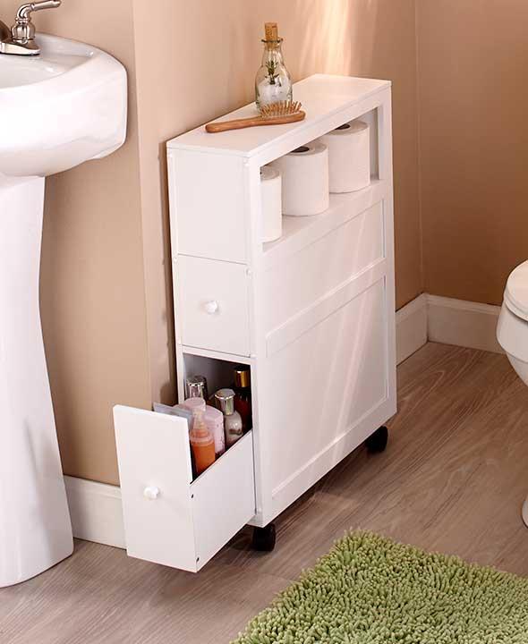 new rolling slim bathroom organizer cabinet & toilet brush plunger