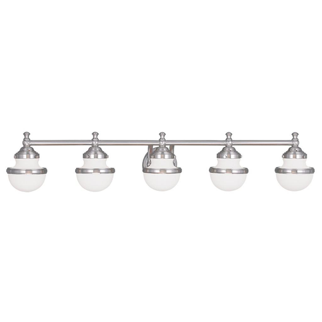 5 Light Livex Oldwick Modern Brushed Nickel Bathroom
