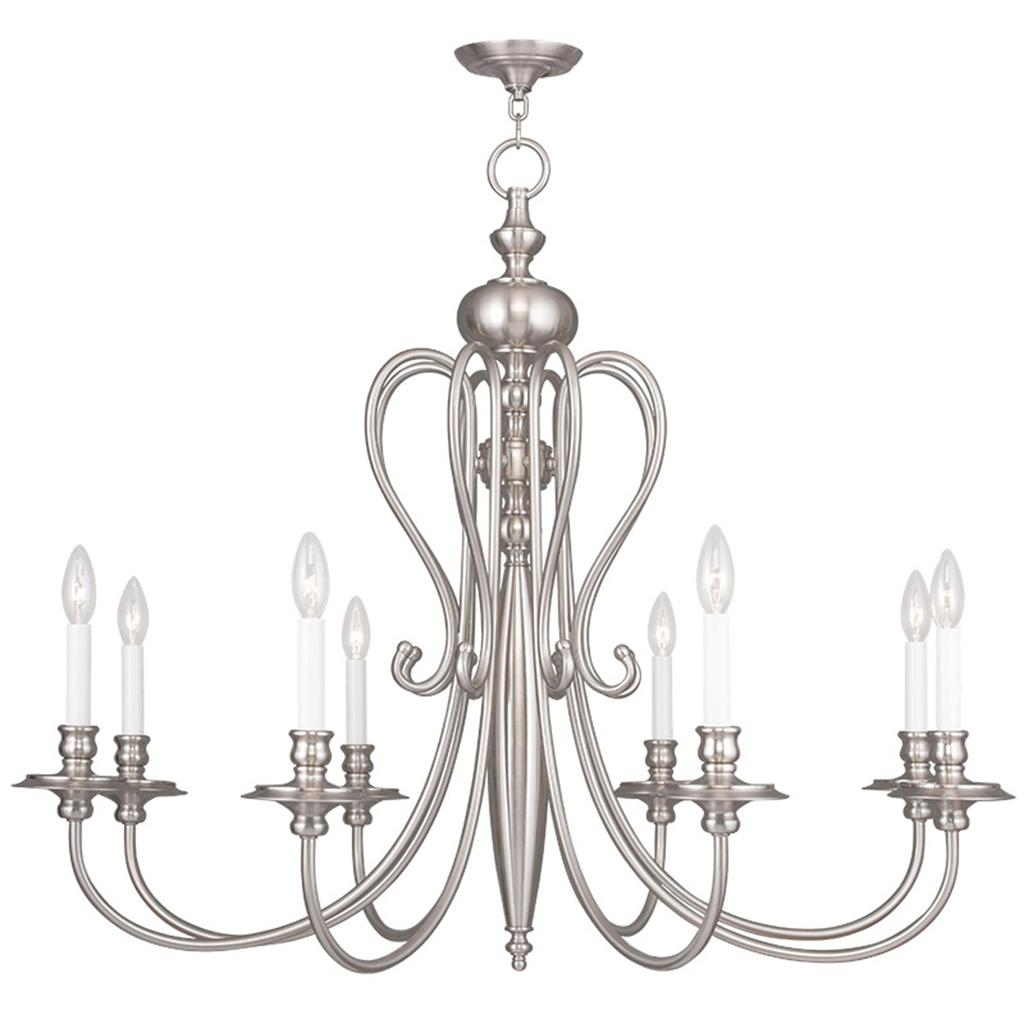 Brushed Nickel Livex 8 L Caldwell Chandelier Lighting Ceiling Fixture 91