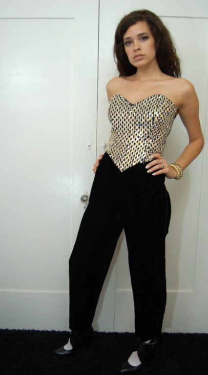 Vintage sequin strapless jumpsuit