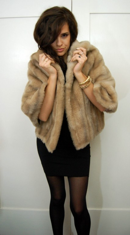 vintage faux blonde fur short coat