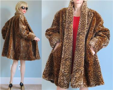 MONTEREY FASHIONS LEOPARD PRINT FAUX FUR COAT SHAWL COLLAR NICE     MONTEREY FASHIONS LEOPARD PRINT FAUX FUR COAT SHAWL COLLAR NICE SWEEP S