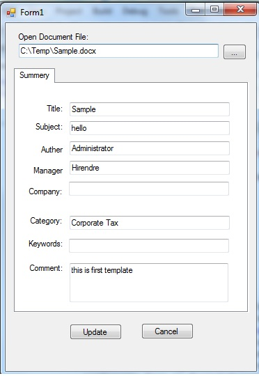 Window form for word document properties
