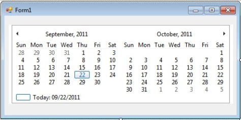 how to display more than one month in the monthcalendar control