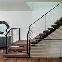 Customized Modern Teak Stair Treads Mono Steel Stringer Wood   Steel And Wood Staircase   Steel Cable   Construction   Beautiful   New Model   Detail