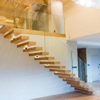 Prefab House Floating Stair Metal Stringer Glass Railing Outdoor   Prefab Outdoor Wood Stairs   Closed Stringer   Concrete   Stair Handrail Outdoor   Commercial   Prefab Metal