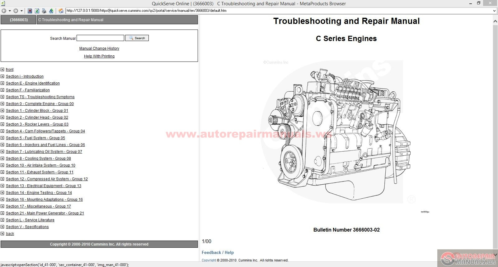 Cummins C Series Troubleshooting And Repair Manual