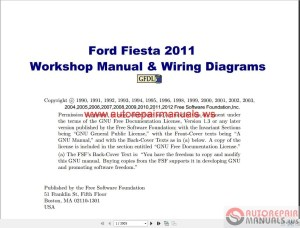 Ford Fiesta 2011 Workshop Manual & Wiring Diagrams | Auto