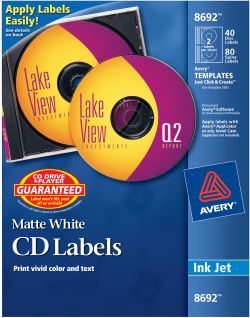 Avery Cd Labels Print To The Edge Permanent Adhesive Matte 40 Face Labels And 80 Spine Labels 8692