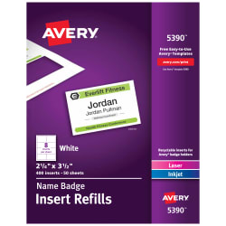 Avery Name Badge Insert Refills 2 1 4 X 3 1 2 400 Inserts 5390
