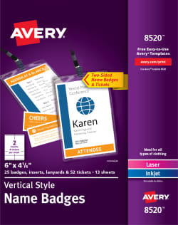 Avery Vertical Name Badge Event Tickets Durable Plastic Holders Lanyards 6 X 4 1 4 25 Badges 8520