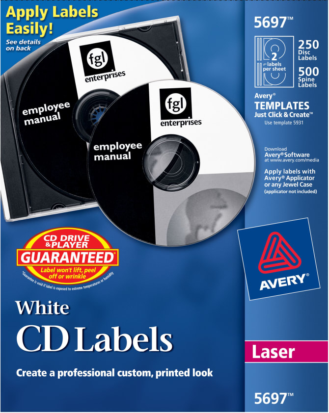 Avery Cd Labels Print To The Edge Permanent Adhesive 250 Disc Labels And 500 Spine Labels 5697