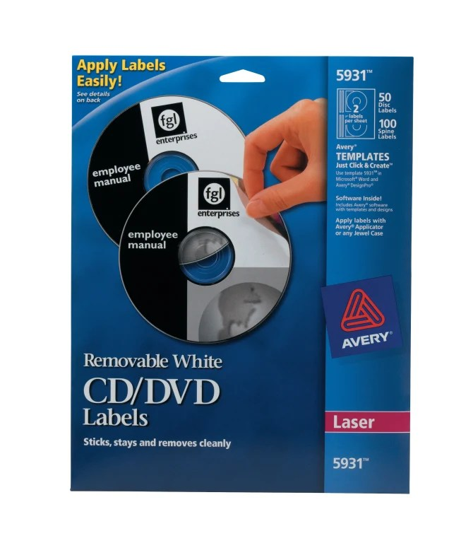 Avery Removable Cd Labels Print To The Edge Removable Adhesive 50 Disc Labels And 100 Spine Labels 5931