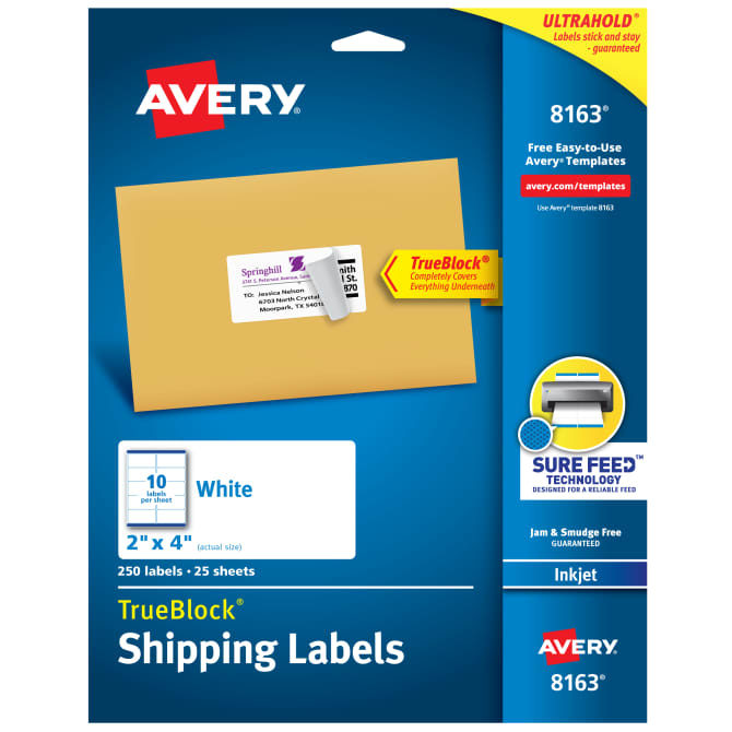 Avery Trueblock Shipping Labels Sure Feed Technology Permanent Adhesive 2 X 4 250 Labels 8163