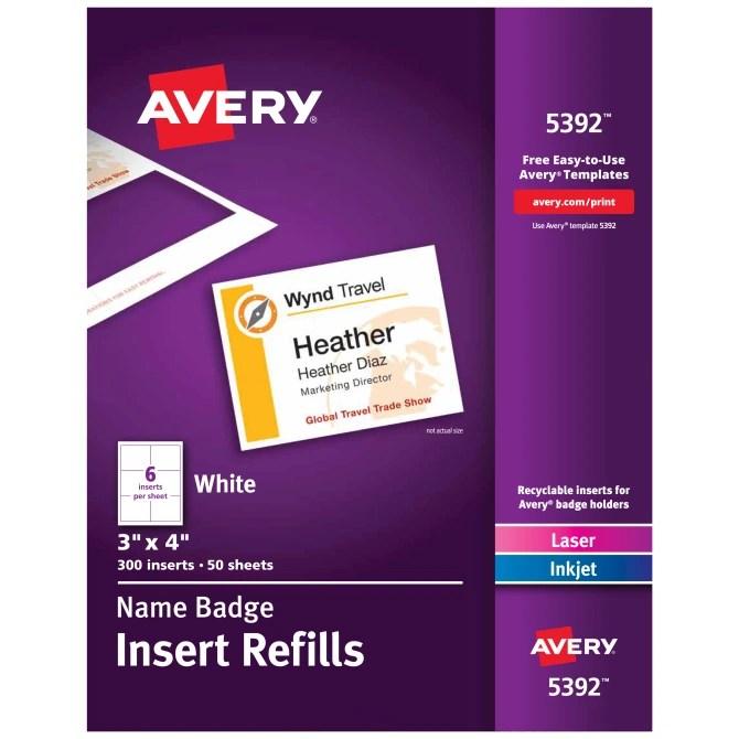 Avery Name Badge Insert Refills 3 X 4 300 Inserts 5392