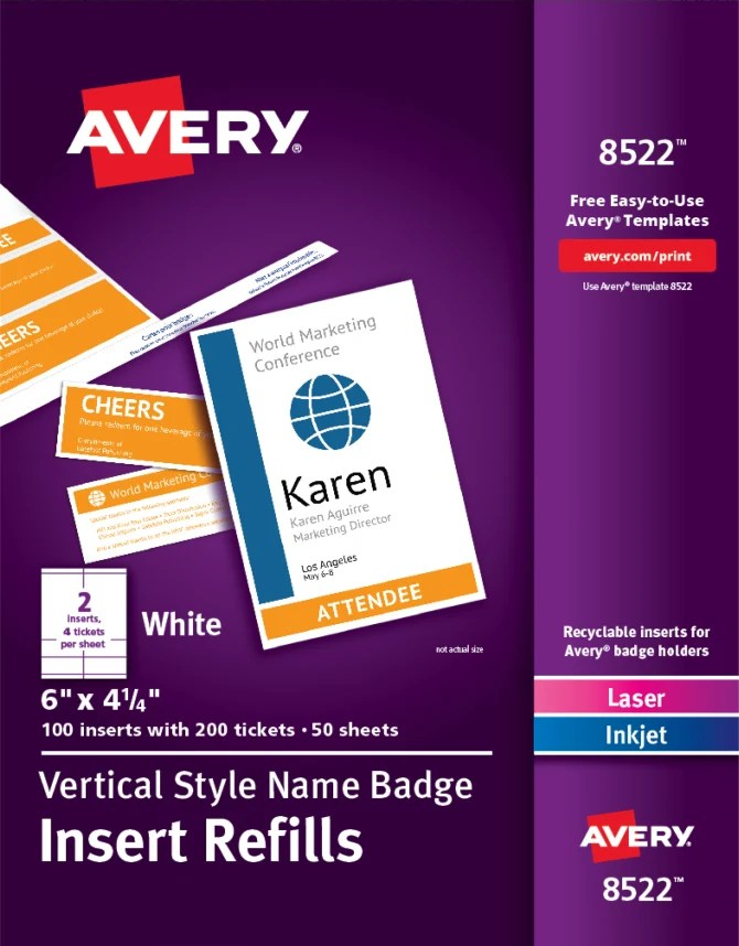 Avery Vertical Name Badge Ticket Inserts 6 X 4 1 4 100 Inserts 8522