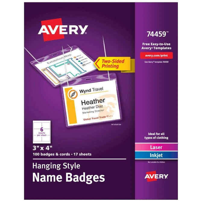 Avery Top Loading Hanging Style Name Badges 3 X 4 100 Badges 74459