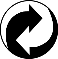 Green dot symbol shows the manufacturer contributes to a recycling organization to manage packaging waste