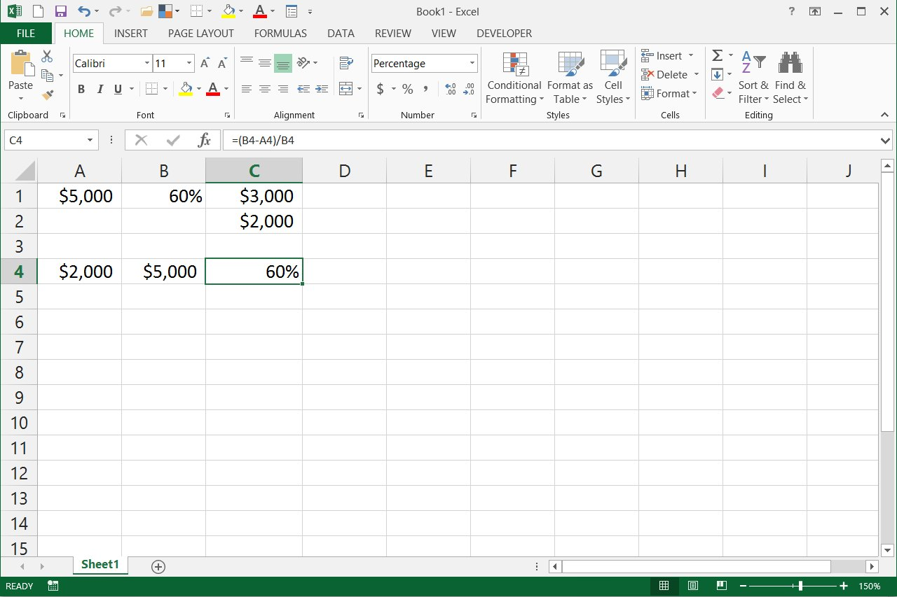 How To Write Percentage Formulas In Excel With Pictures