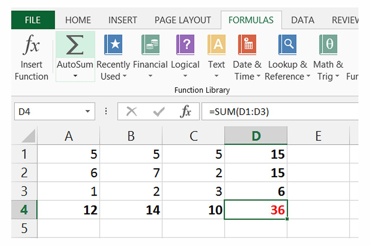 How To Sum A Column Or Row Of Excel Cells With Pictures