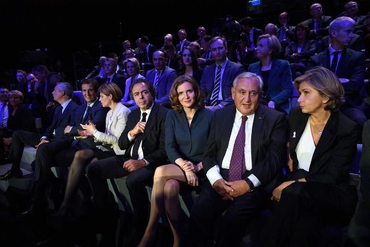 Valérie Pécresse, Jean-Pierre Raffarin, Nathalie Kosciusko-Morizet et Luc Chatel, à Paris le 24 novembre 2016 / POOL/AFP/Archives