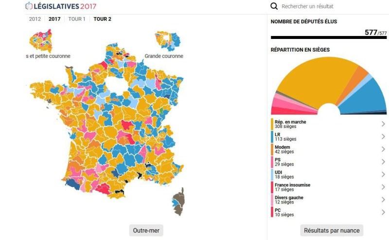 Carte Interactive Des Resultats Definitifs Du Second Tour Des Elections Legislatives De Ce Dimanche  Juin