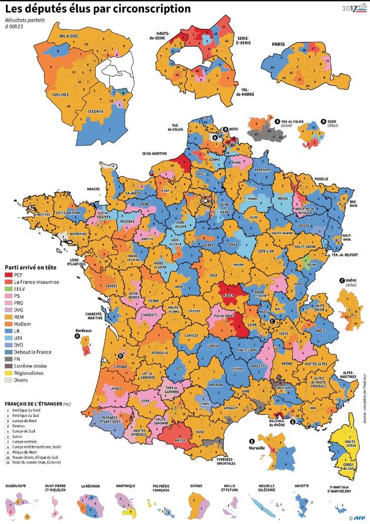 Législatives : résultats par circonscription / AFP
