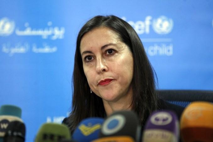 La représentante au Yémen de l'Unicef, Meritxell Relano, le 16 janvier 2018 à Sanaa/AFP