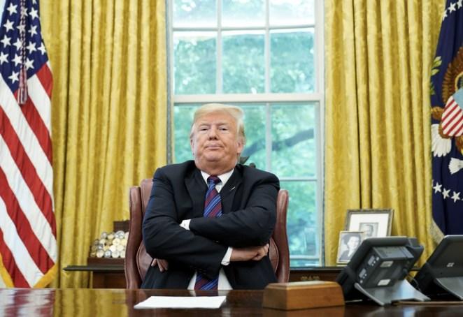 Le président américain Donald Trump dans le Bureau ovale de la Maison blanche à Washington, le 27 août 2018/AFP