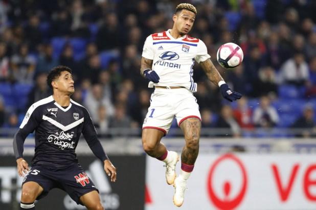 Lyon striker Memphis Depay (d) on November 3, 2018 / AFP / Archives at Decines-Charpieu during L1 match against Bordeaux