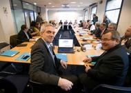 Medef Deputy President Alexandre Saubot (left) and Vice President of the ...