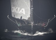 The boat of Alex Thomson after having hit the cliffs of Guadeloupe at ...
