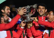Croatian team celebrates victory in Villeneuve-d'Ascq on 25 November