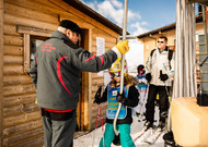 A girl taking a ski lift in the Pyrenees. Before the game other ...