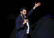 Actor Hasan Minhaj on stage at Madison Square Garden in New York.