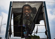 In Kinshasa, a billboard of the outgoing President of the DRC, Joseph Kabila ...