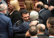 The Macedonian Prime Minister Zoran Zaev (front) receives the tribute from the leader ...