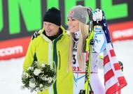 Former Swedish ski champion Ingemar Stenmak and American skier Lindse ...