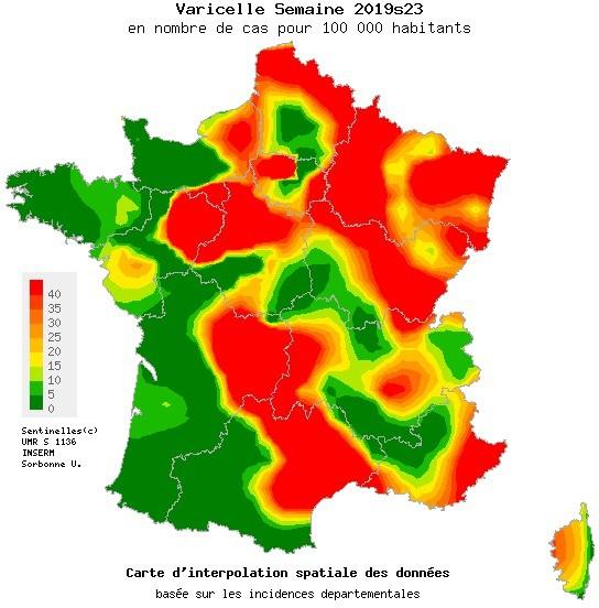 Epidemia de varicela: 12 regiones en rojo.