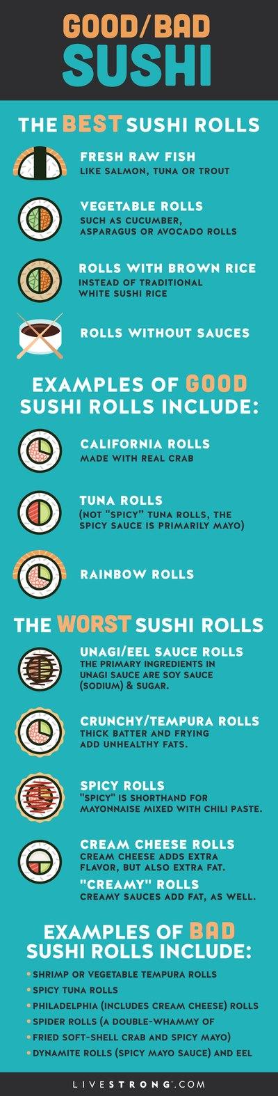 Fresh raw fish such as salmon sushi is a good choice.