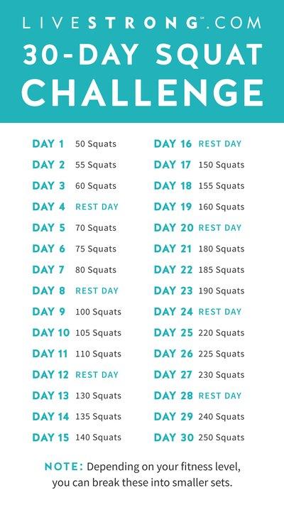 30 Day Squat Challenge Printable