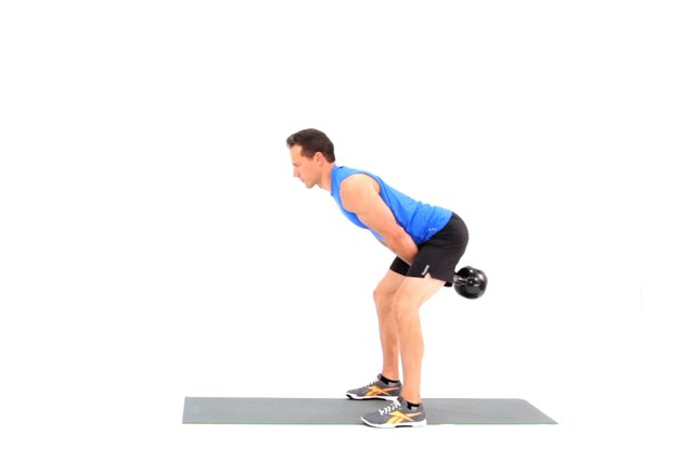Proper form for a kettlebell swing.