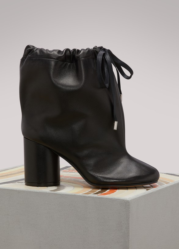 Womens Leather Ankle Boots With Drawstring Maison