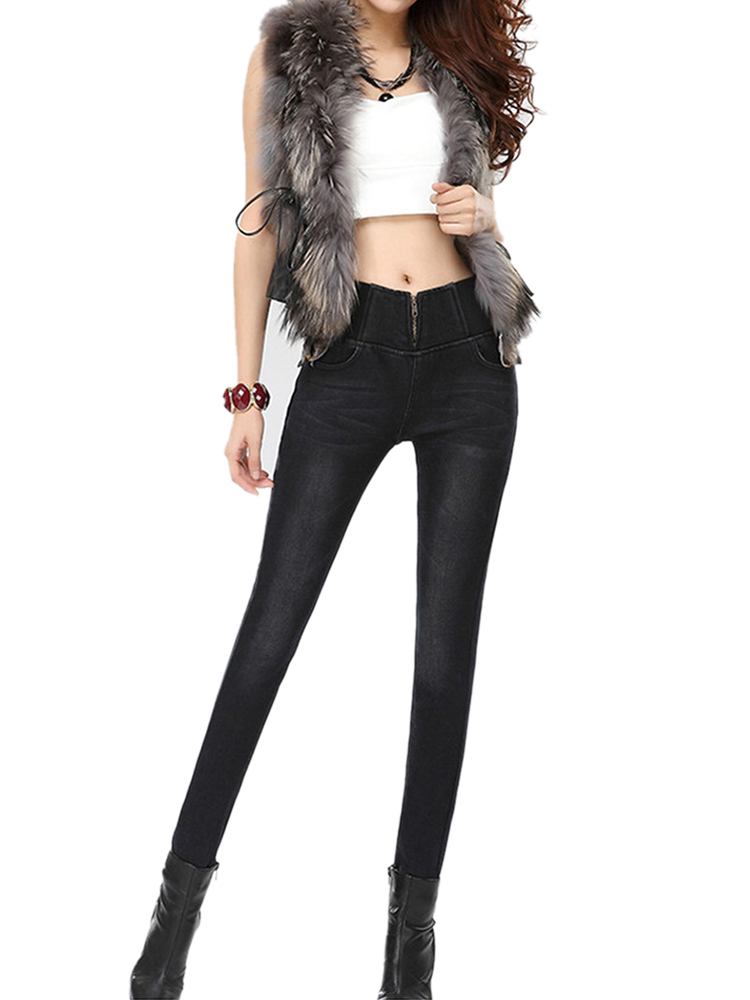 Casual Thicken Elastic Jeans
