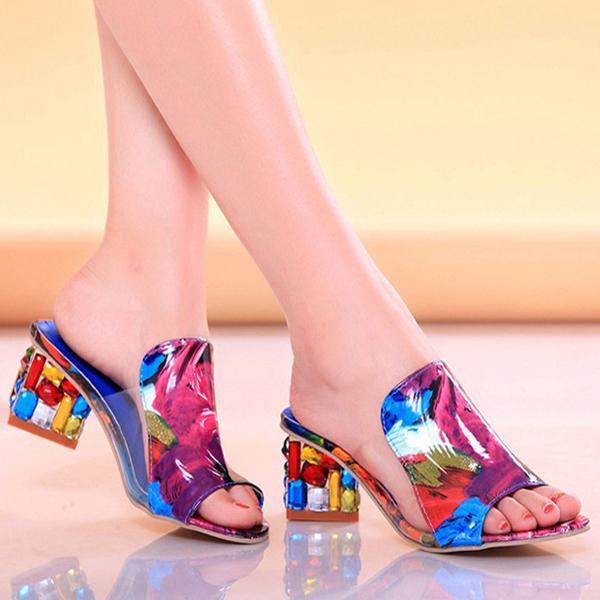 Summer Chic Shoes Slip On Platform Sandals Crystal Heel Beach Sandals