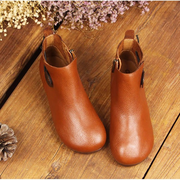 Leather Short Boots Women Casual Outdoor Soft Slip On Flat Shoes