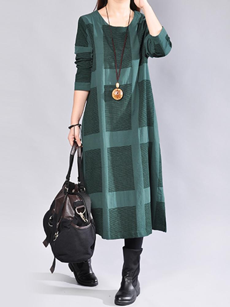 Casual Women Plaid Loose Long Sleeve Dress
